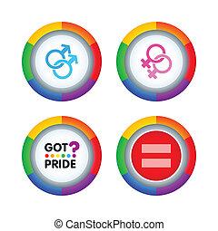Orgullo, alegre, insignias