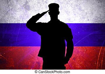 orgulloso, ruso, soldado, en, bandera rusa, plano de fondo