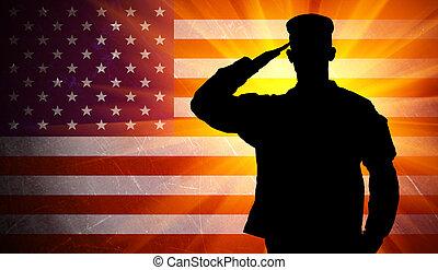 orgulloso, saludar, macho, ejército, soldado, en, bandera estadounidense, plano de fondo