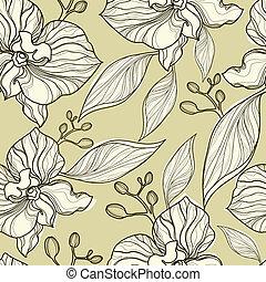 orhidea, motívum, seamless, virágos