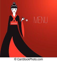 Oriantal femme fatale in a long black kimono with a ...