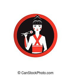 Oriantal femme fatale in black kimono with a traditional ...