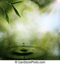 orientální, abstraktní, grafické pozadí, bambus, listoví