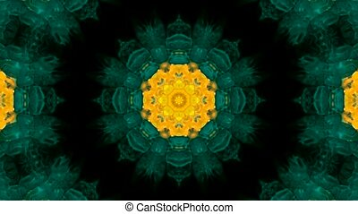 Animation of green flower pattern, orient religion fancy texture
