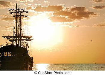 orientação, horizontais, navio, piratas