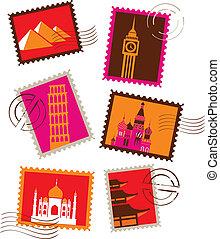 orientační bod, poštovní známky