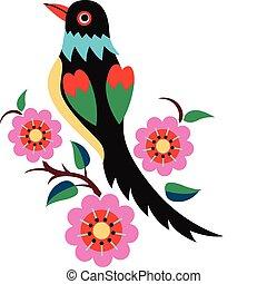 oriental, árbol, pájaro, chino