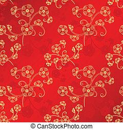oriental, año nuevo chino, seamless, patrón