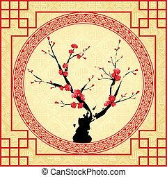 oriental, ano novo chinês, cartão cumprimento