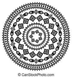oriental, arabesco, padrão, redondo