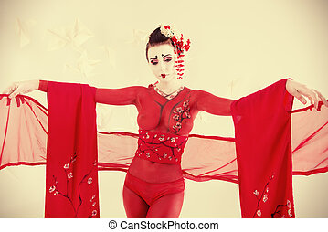 oriental art - Art portrait of a stylized Japanese geisha....