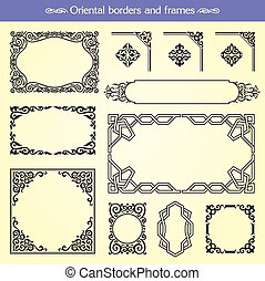 Set of vector oriental asian borders, frames and corners