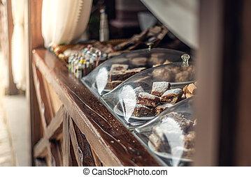 Oriental baking sweets Pahlava in street cafe in City of Yevpatoria on the Peninsula Crimea in Republic of Crimea
