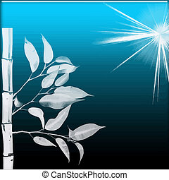 oriental bamboo with starlight on blue black background