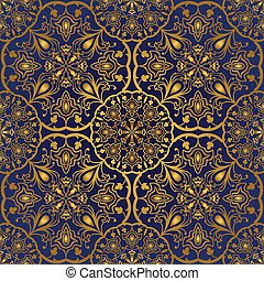 Oriental blue and gold pattern. - Seamless ornamental...