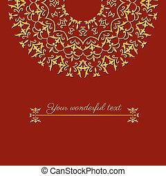 oriental border red card - beautiful greeting card template...