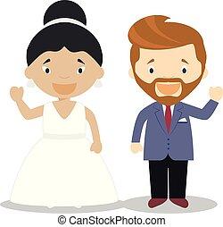 Oriental bride and caucasian bridegroom Interracial newlywed couple in cartoon style Vector illustration