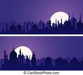 oriental, cúpulas, night., bandeiras horizontais, cidade, minarets