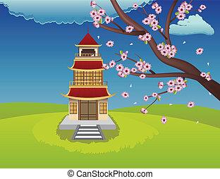 oriental, casa, e, florescer, sakura