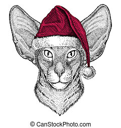 Oriental cat with big ears Christmas illustration Wild...