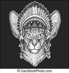 Oriental cat with big ears Cool animal wearing native american indian headdress with feathers Boho chic style Hand drawn image for tattoo, emblem, badge, logo, patch