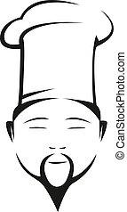 oriental, chef, en, un, tradicional, blanco, toque