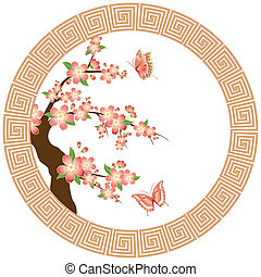 Oriental pink red cherry blossom with butterfly on white background