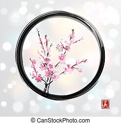 Oriental cherry branch in blossom