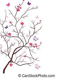 Oriental cherry with butterflies