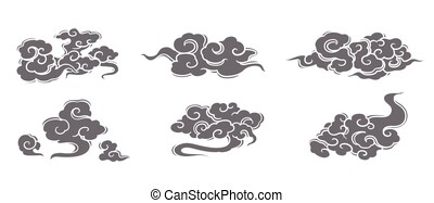 oriental chinese cloud silhouette vector set