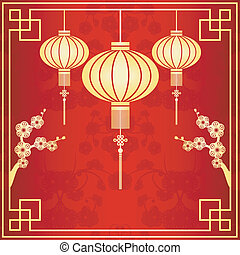 Oriental Chinese Lantern Illustration - Oriental Chinese ...