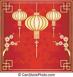 Oriental Chinese Lantern Illustration - Oriental Chinese...