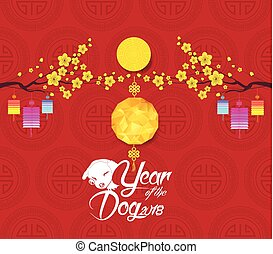 Oriental Chinese New Year 2018 background with polygonal lantern. Year of the dog