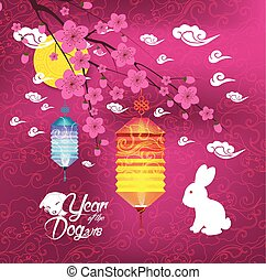 Oriental Chinese New Year background with lantern, rabbit and blossom. Year of the dog