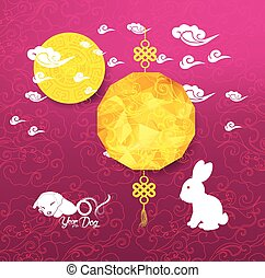 Oriental Chinese New Year background with lantern, rabbit. Year of the dog