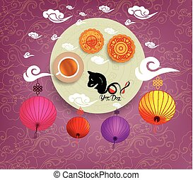 Oriental Chinese New Year background with lantern, tea and cake. Year of the dog