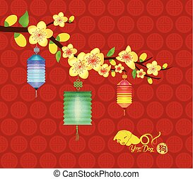 oriental chinese new year background with lantern year of the dog 2018