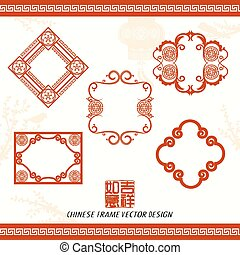 Oriental Chinese New Year Frame Vector Design