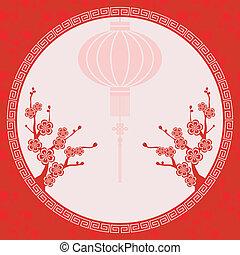 oriental, chino, ilustración, linterna