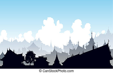 Oriental city - Editable vector illustration of a generic ...