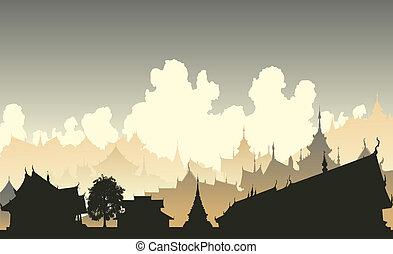 Oriental city - Editable vector illustration of a generic...