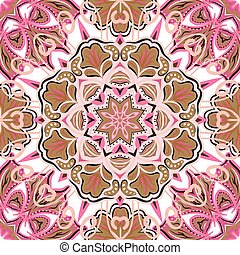 Oriental colorful ornament. Seamless vector ornate background. Beautiful pattern of mandalas. Template for rug.