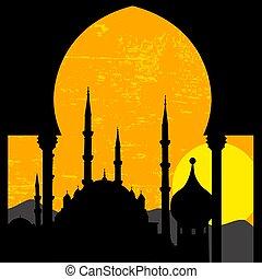 oriental, coucher soleil, mosquée