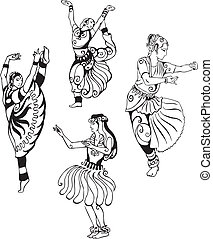 Women in oriental dance. Set of black and white vector illustrations.