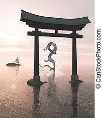 oriental, dragón, en, el, mar, niebla, atrás, un, santuario, puerta