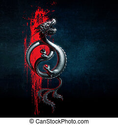 Oriental Dragon Yin-Yang Red Blue - Illustration of a flying...