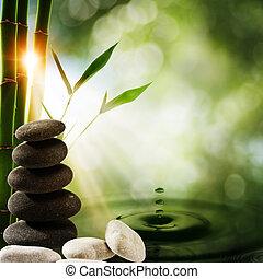 oriental, eco, fundos, com, bambu, e, água, respingo