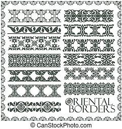 oriental, estilo, ornamento, elements., tudo, componentes, é, fácil, editable, e, lata, ser, assembled.