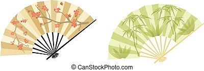 Oriental fan - Fan in two variations, blooming tree and...