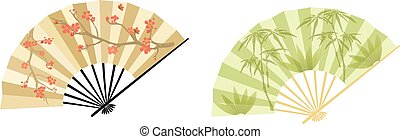 Oriental fan - Fan in two variations, blooming tree and...